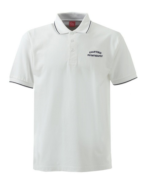 An image of POLO SHIRT WHITE/BOTTLE SKINNY TRIM SIZE MEDIUM OT EMB.