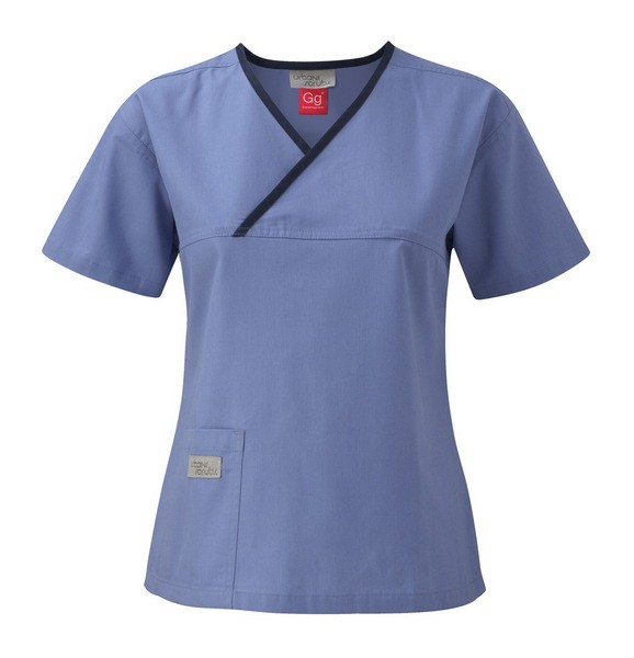 An image of URBANE LADIES CROSSOVER SCRUB TOP - Strawberry/Lime (S)