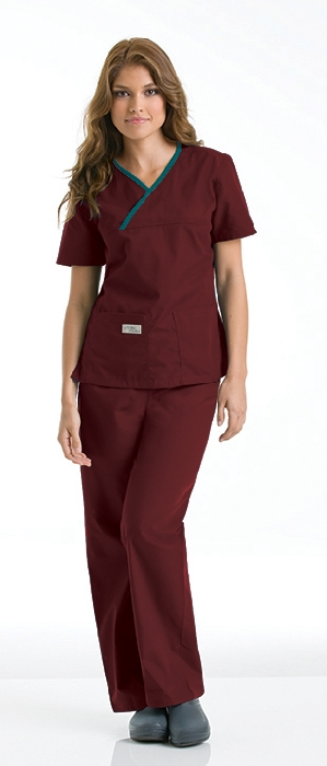 An image of Double Pocket Crossover Top Wine/Caribbean XS