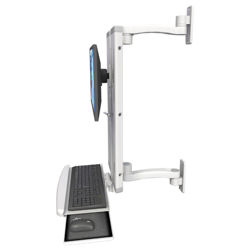 An image of EMVT21 Low Profile Sit / Stand Computer Workstation Extended Ultra Medical White