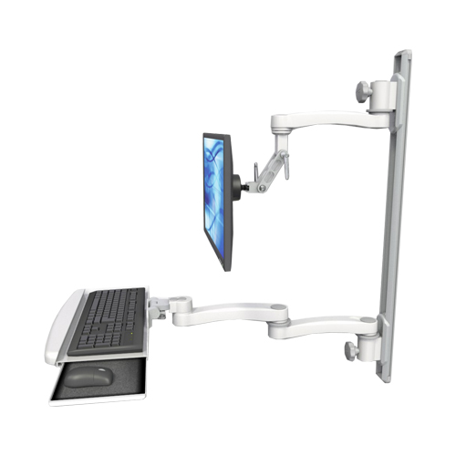 An image of Ultra 500i Monitor & Keyboard Wall Track Mount Extended Long Reach Ultra Medical White