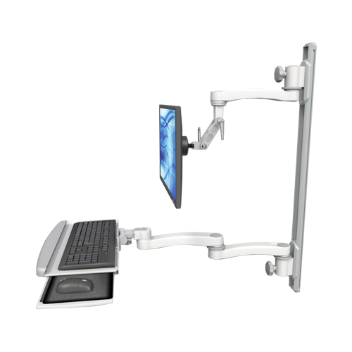 An image of Ultra 500i Monitor & Keyboard Wall Track Mount Extended Long Reach Composite Medical White