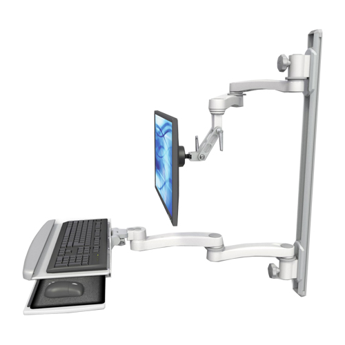 An image of Ultra 500i Monitor & Keyboard Wall Track Mount Long Reach Composite Medical White