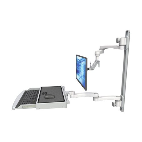 An image of Ultra 500i Monitor & Keyboard Wall Track Mount Long Reach Worksurface Medical White