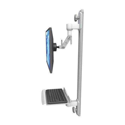 An image of Ultra 500i Monitor & Keyboard Wall Track Mount Compact Mini Medical White