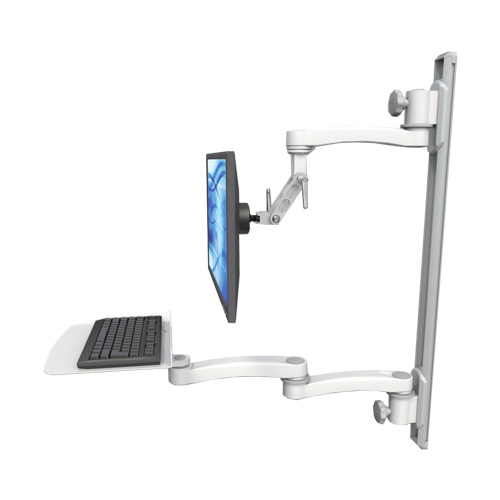An image of Ultra 500i Monitor & Keyboard Wall Track Mount Extended Long Reach Mini Flat Medical White
