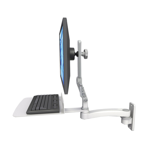 An image of Ultra 510 Keyboard & Monitor Wall Mount Extended Mini Flat Medical White