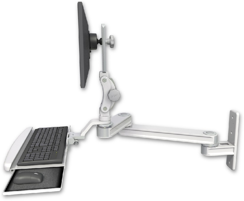 An image of T2 Paralink Series Keyboard & Monitor Wall Mount 12'' & 20'' Ultra Medical White
