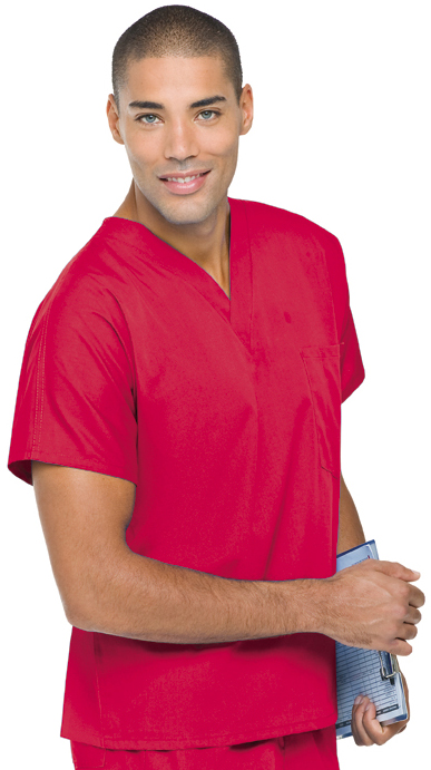 An image of Unisex Scrub Top Red XS