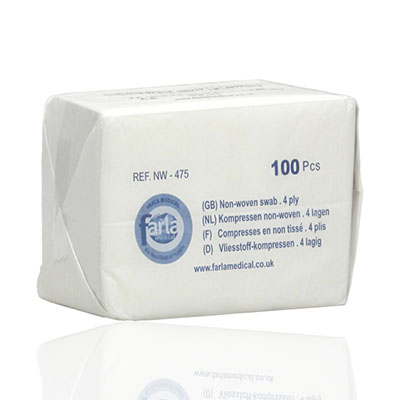 An image of Farla Non Woven N/S Swabs 4PLY 5x5cm - 100pcs