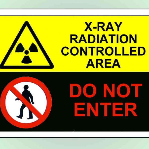 An image of Self Adhesive  X-Ray Radiation Controlled Area - DO NOT ENTER