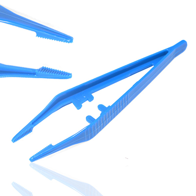 An image of Disposable Sterile Dissecting Forceps / Tweezers 13cm Blue