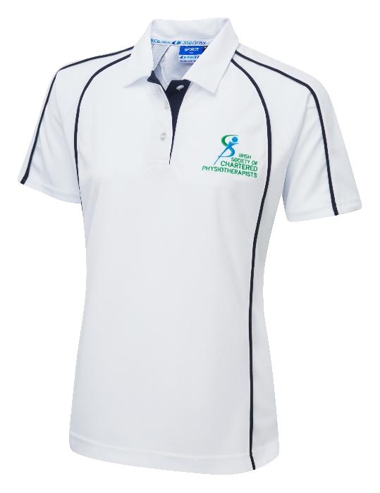 G-Force Ladies Fit Poloshirt White ISCP Logo
