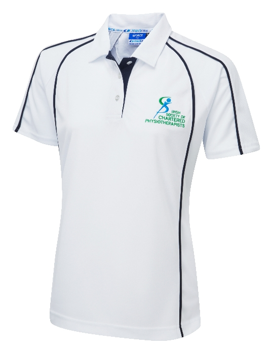 An image of G-Force (6/8) Ladies Fit Poloshirt White ISCP Logo