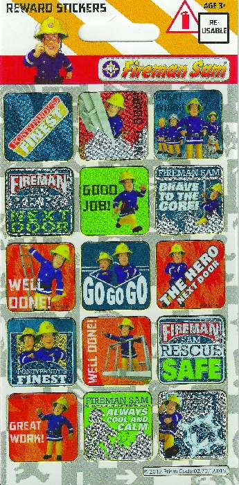 An image of FIREMAN SAM REWARD STICKER 15 PER PACK