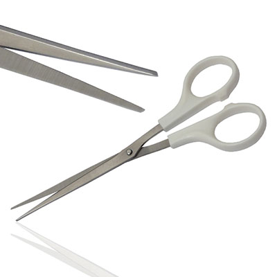 An image of Iris Scissor Extra Long Plastic Handles & Metal Tips  Sterile