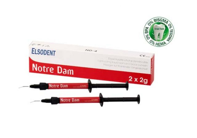 An image of Elsodent NOTRE DAM Light-curing liquid dam. 2 x 2g syringes + 10 tips - Blue shade