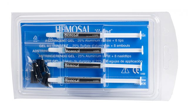 An image of Elsodent HEMOSAL hemostatic gel. 4 x 1.5g syringe + 10 tips