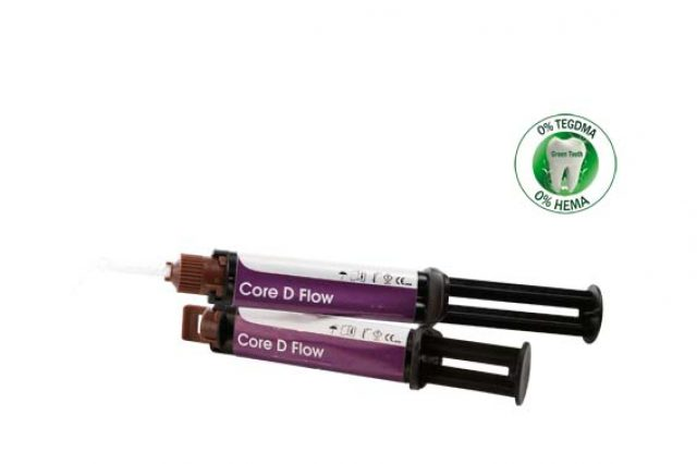 An image of Elsodent CORE D FLOW  2 x 48g dual syringes +10 mixing tips + 10  intra-oral Dentin shade