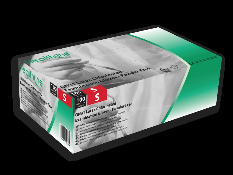 An image of Latex Examination Gloves Powder Free Chlorinated (100) XS