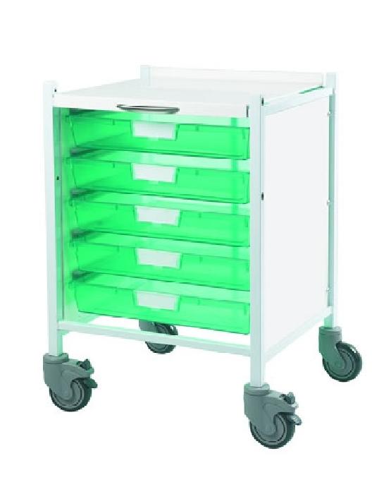 An image of Vista 40 Trolley - Trays Green - 5 Single Trays