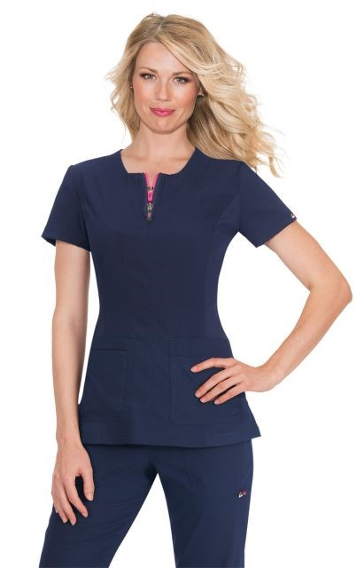 An image of KOI SERENITY TOP NAVY DOUBLE ZIPPER FRONT 100% POLYESTER XL