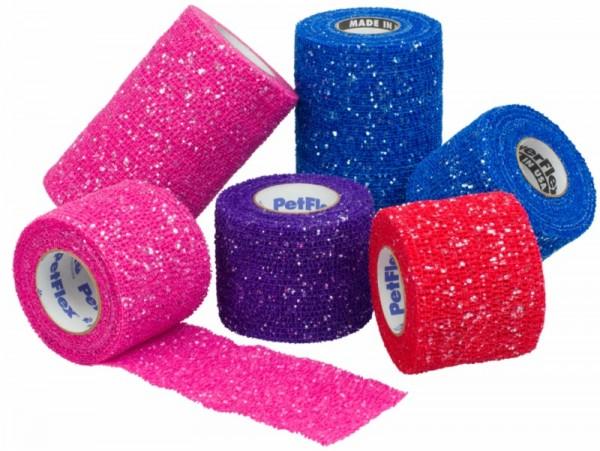 An image of Pet-flex 5cm Glitter Assorted (Black Blue Red Purple Pink)