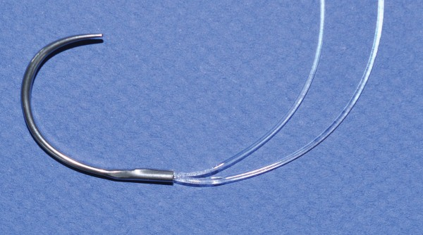 An image of Cruciate Sutures Swedged Very Small 30mm Needle 50LB x 1000mm LOOP +2x10mm Crimps Sterile