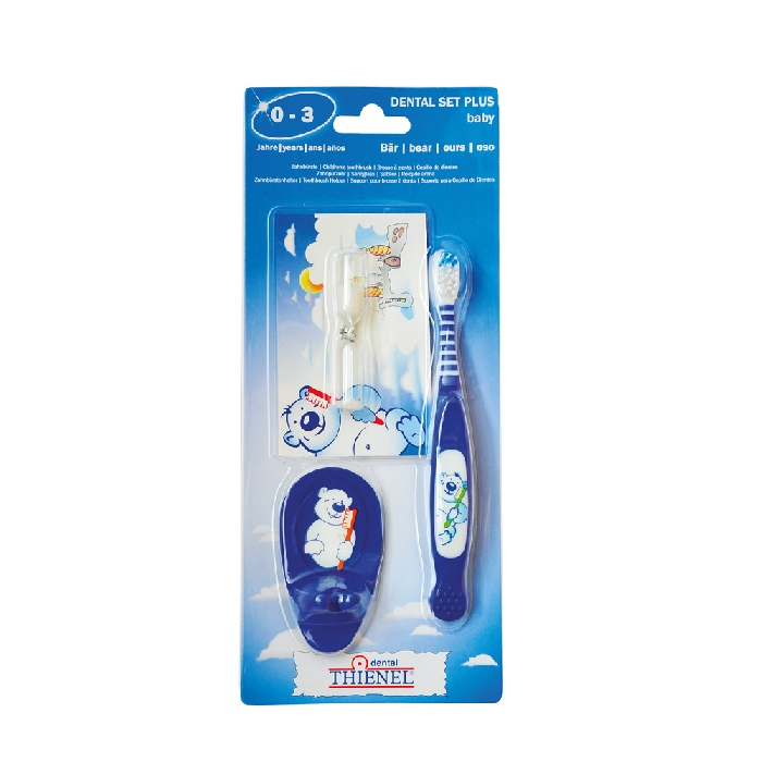 An image of Dental Set Plus Baby Design Bear Blue  0-3 years (ToothbrushSandglass & Toothbrush Holder)