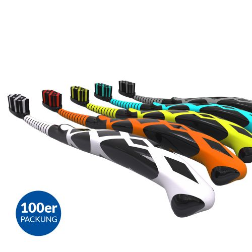 An image of Toothbrush Black Snake Design 7 + years 5 Different Colours (100 Pieces)
