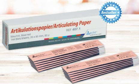 An image of Articulating Paper 80u Straight 20x85mm blue/Red box of 12