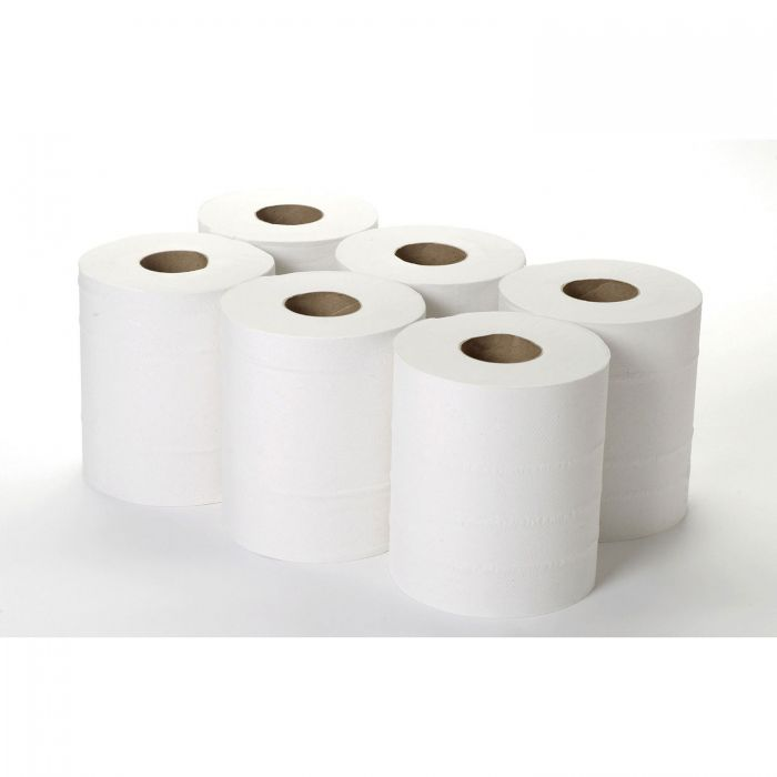 An image of Centre Feed Toilet Rolls - - 2 Ply White  x6 Rolls