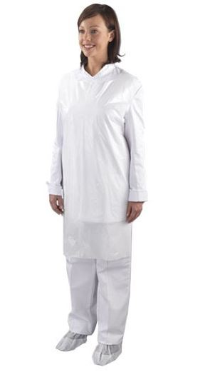 An image of Polythene Aprons White (100)