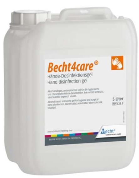An image of Becht4care Hand Disinfection Gel 5 Litre bottle