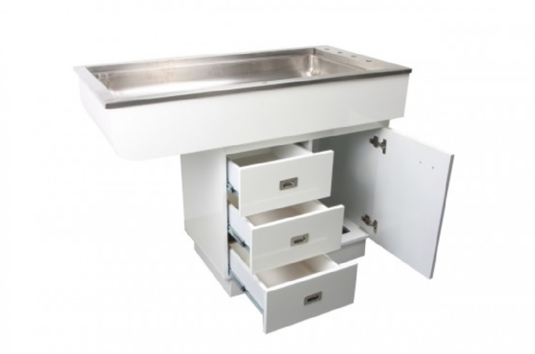 An image of Prep Tub Table Stainless with Storage Right Handed Overhang