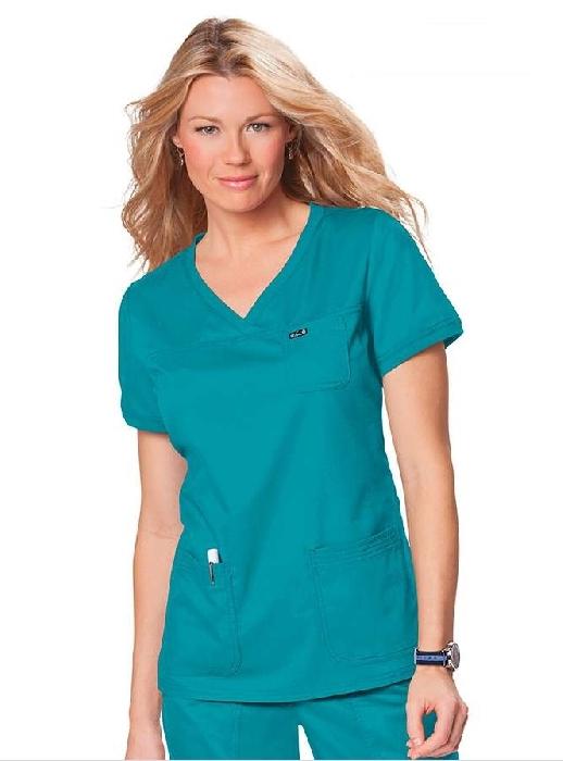 An image of Koi Comfort Nicole Top Turquoise Small