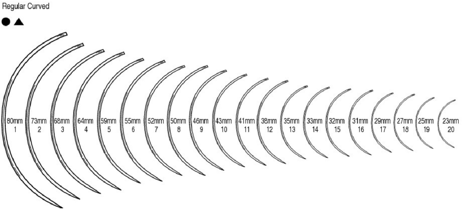 An image of Suture Needle Reg. Eye Curved Round Body(12)4
