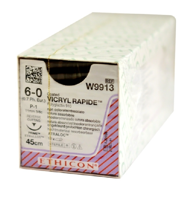 An image of Vicryl Rapide 6/0 USP Suture 45cm 11mm 3/8 Circle RC (12)