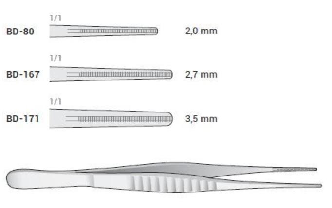 An image of Atraumatic Forceps DeBAKEY straight 2mm 16 cm