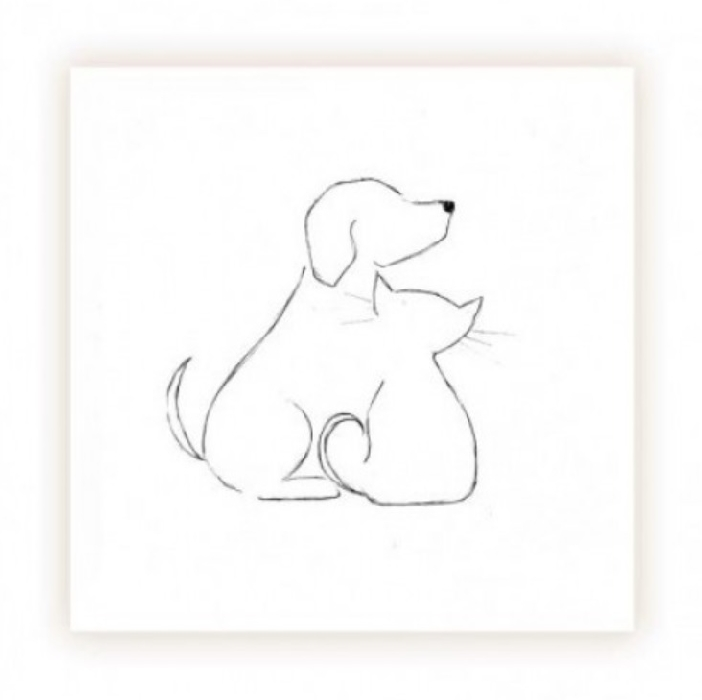 An image of Dog and Cat Outline Cards - Blank (20)