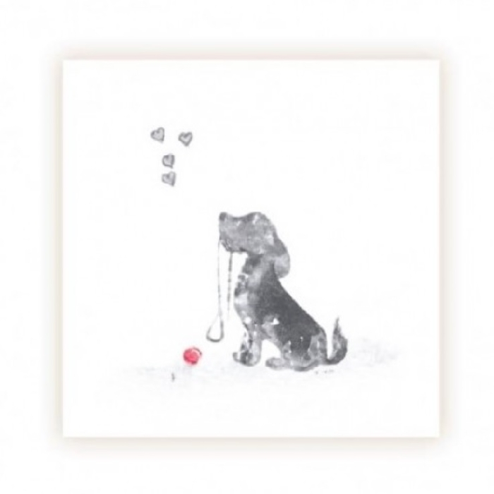 An image of Small Dog With Red Ball Cards - With Verse (20)