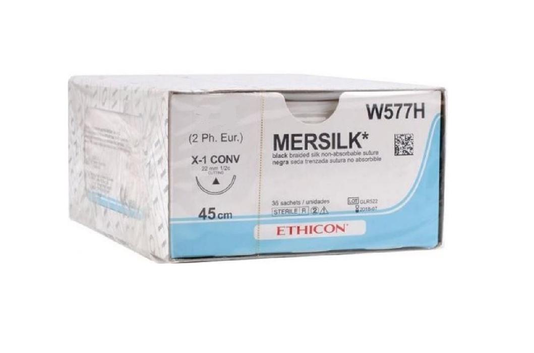 An image of Mersilk 2/0 USP 45cm Thread Length. X-1 CONV 22mm 1/2 Circle Conventional Cut Needle