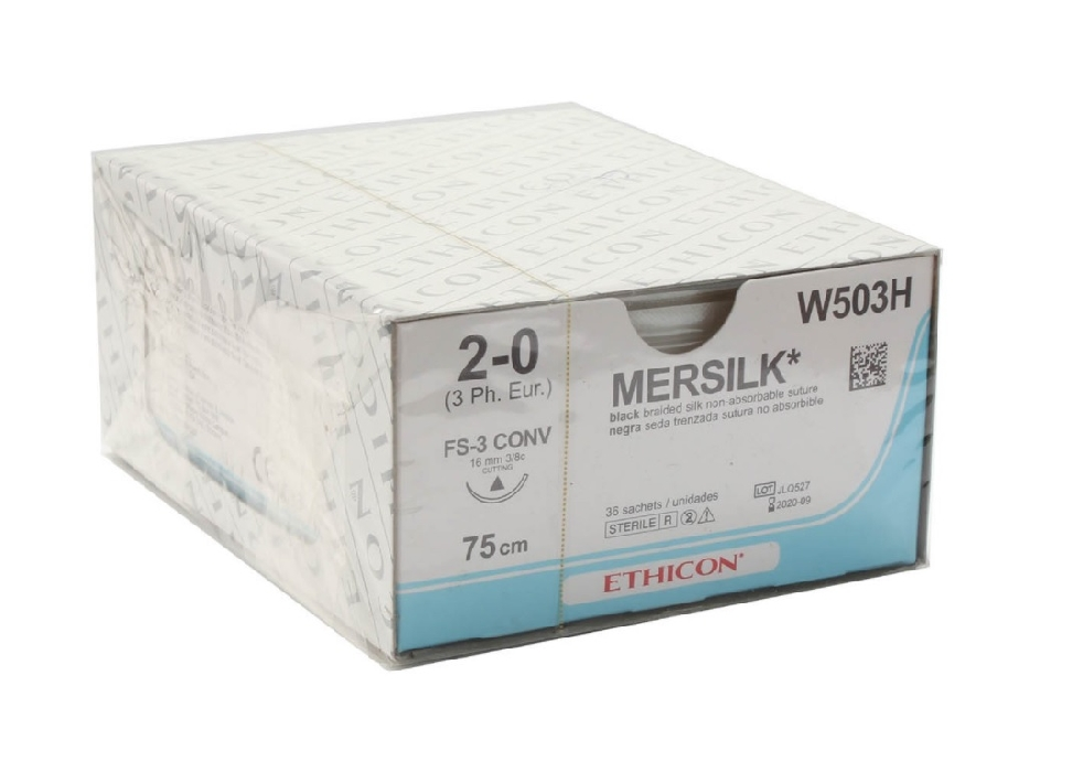 An image of Mersilk 2/0 USP 75cm 16mm 3/8 Circle Conventional Cut (36)