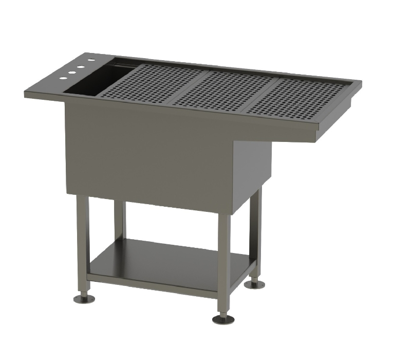 An image of Tub Table w/under shelf Stainless Steel with knee space 120 x 61x91.5cm