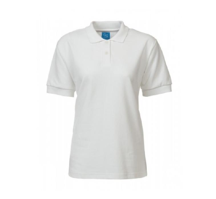 PS819 Ladies Fit Plain White Polo Shirt ISCP logo (S)