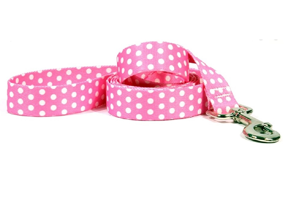 "An image of Yellow Dog Design Standard Leads Pink/Black Polka Dot Size 72"" x 3/4"""