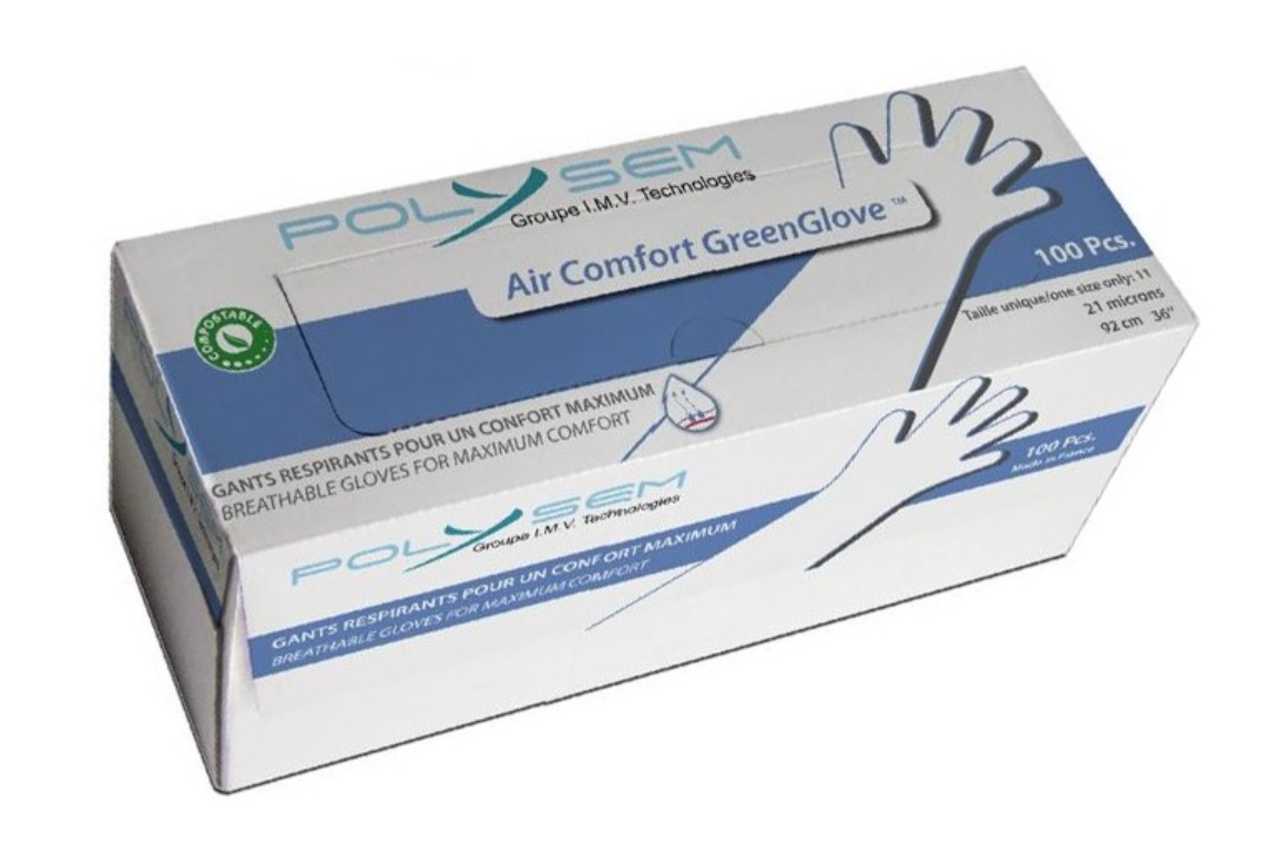 An image of Biodegradable Green Air Arm Length Gloves