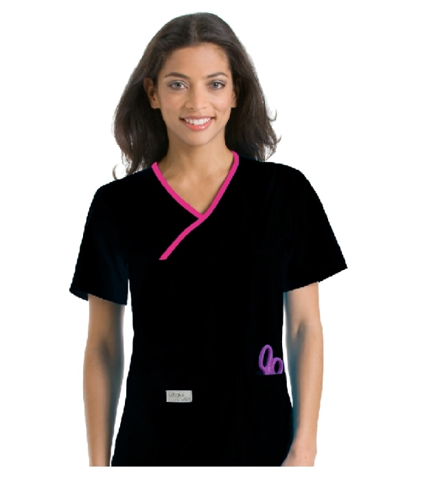 An image of Double Pocket Crossover Top Black/Primrose Large