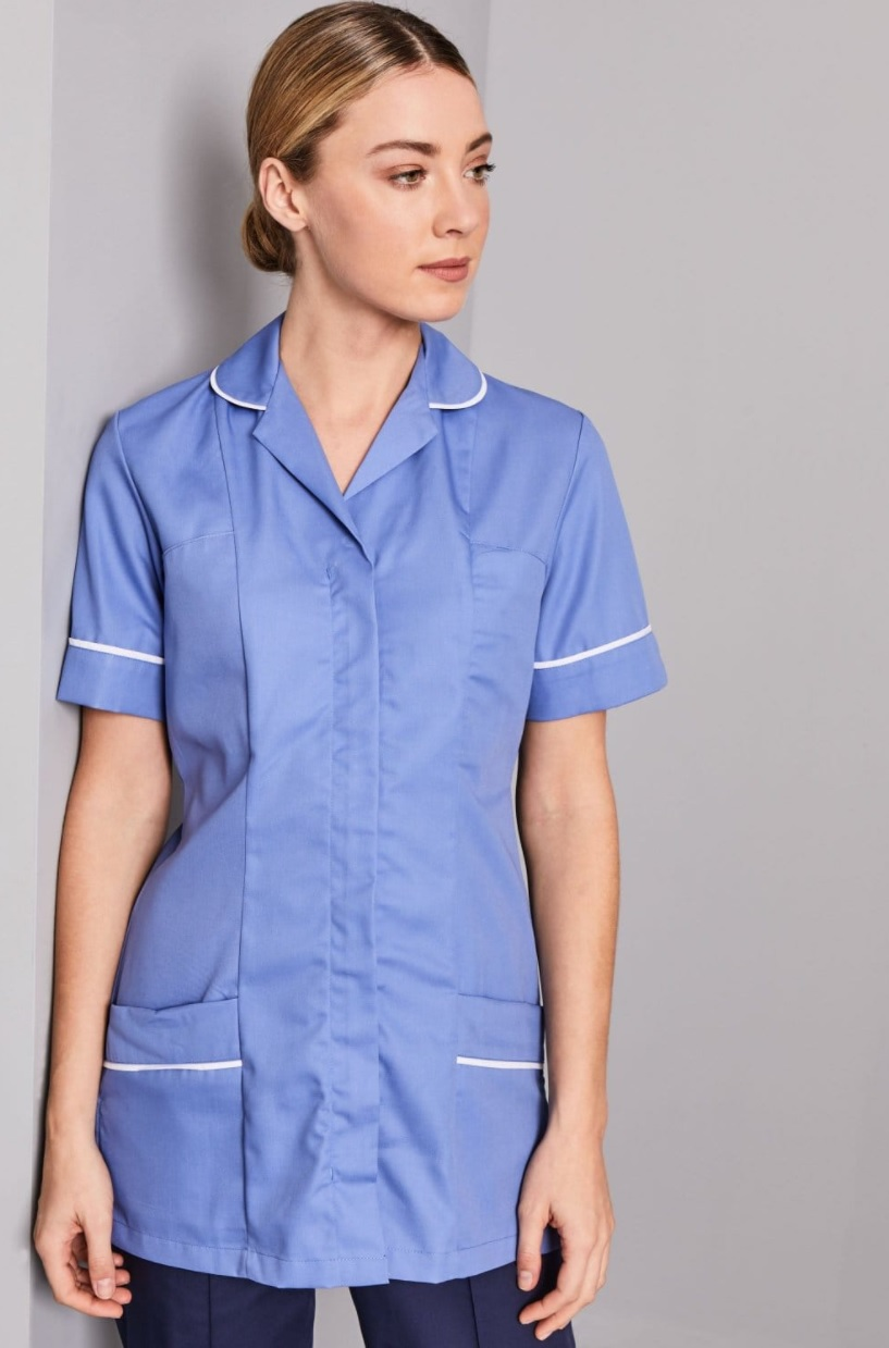 An image of TUNIC BLUE & WHITE ZIP FRONT SIZE 30