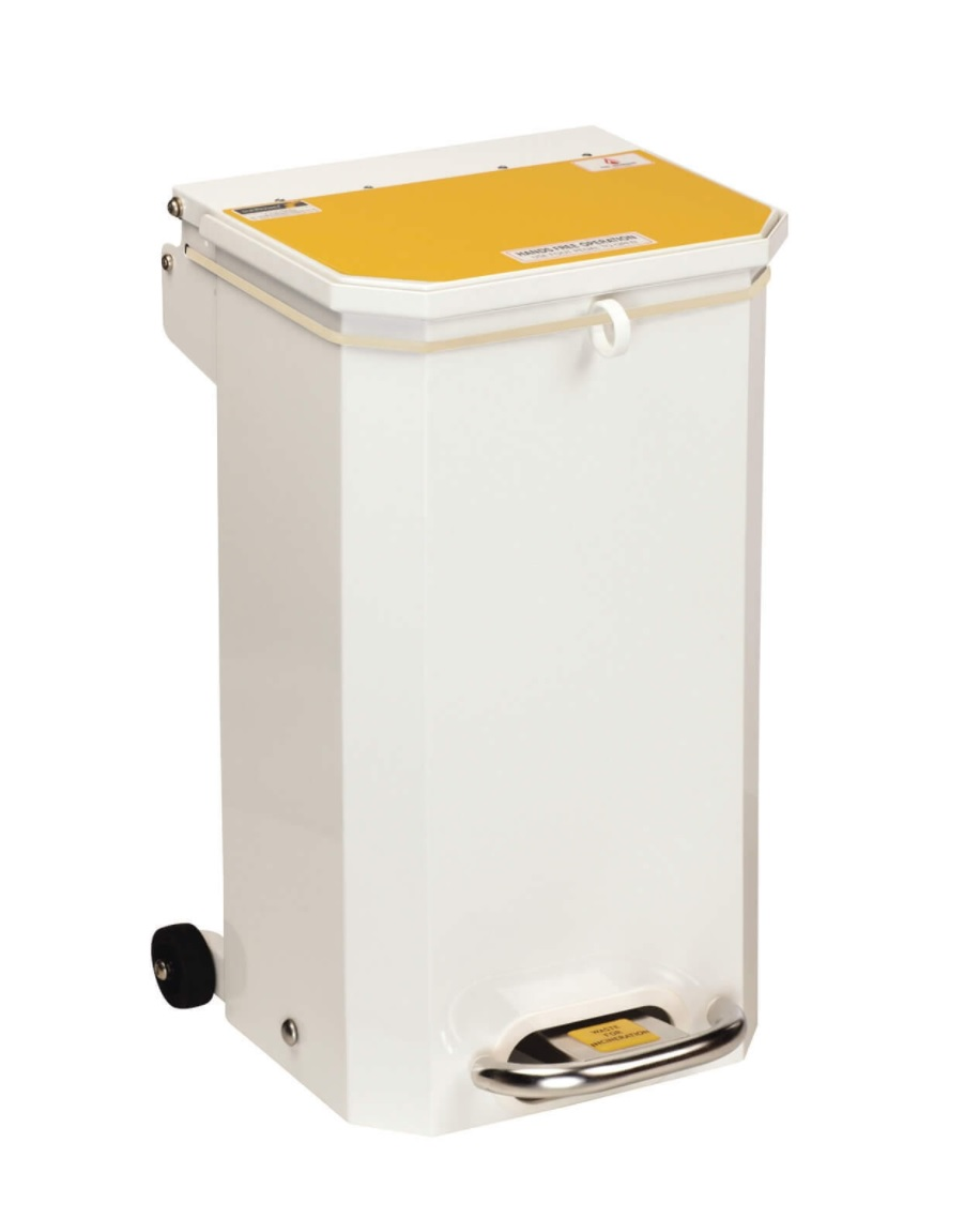An image of Bin 20L Yellow Lid 'waste for incineration' / (Clinical waste)